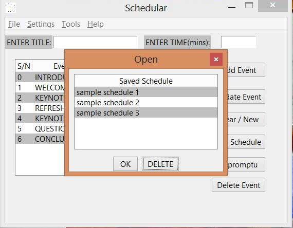 window to load saved schedules